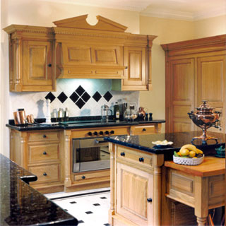 Oak kitchen with granite worksurfaces